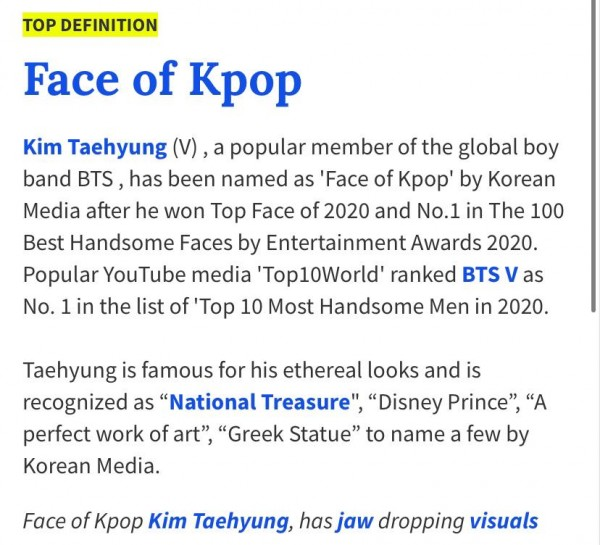 Urban Dictionary Defines the 'Face of K-Pop' to be BTS V