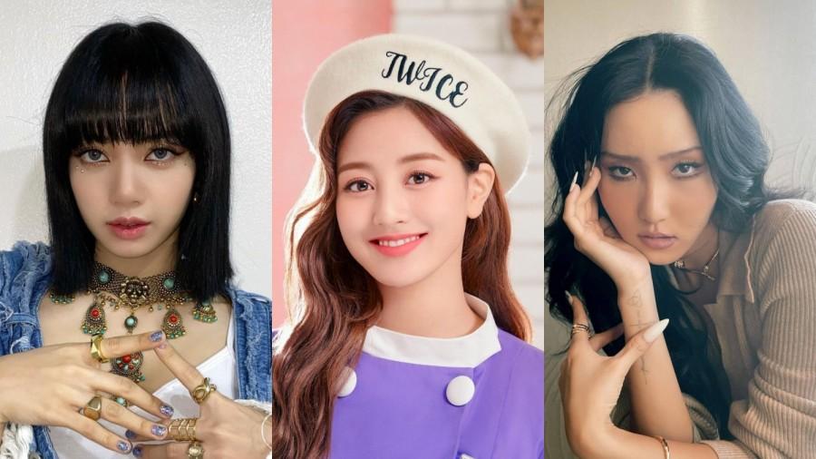 BLACKPINK member Lisa, MAMAMOO member Hwasa and TWICE member Jihyo