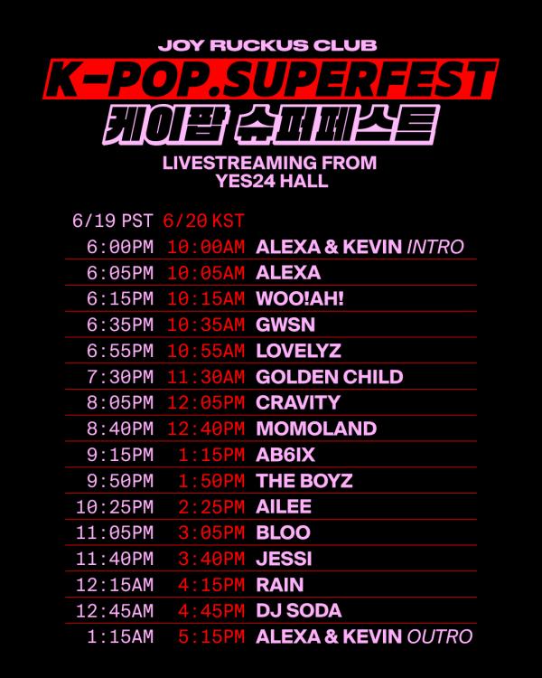 Joy Ruckus Club's K-Pop SuperFest schedule