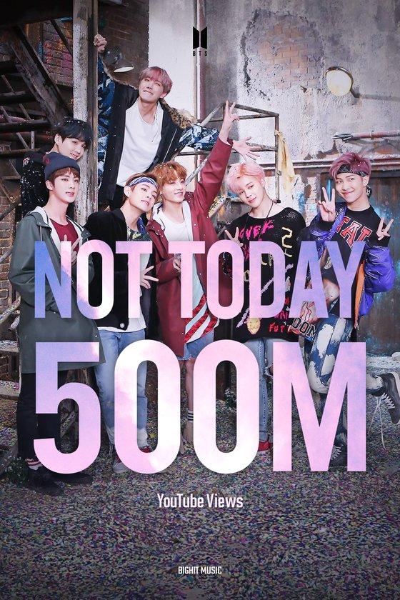 BTS' 'Not Today' MV surpasses 500 million views... 12th